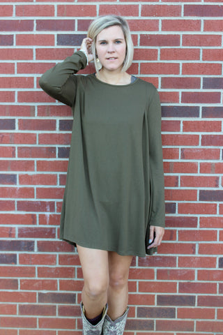 Long Sleeve Dress in Olive
