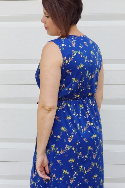 Sleeveless Floral Knit Dress in Royal Blue