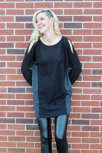 Waffle Knit Open Shoulder Tunic Dress in Black