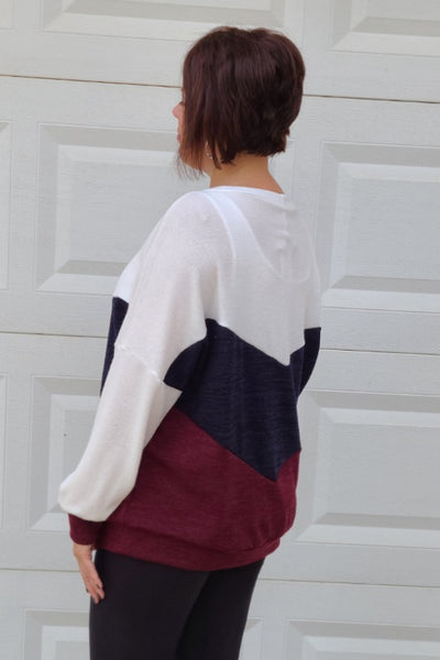 Colorblock Knit Sweater in Navy & Burgundy