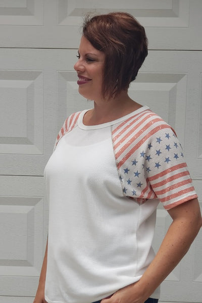 Short Sleeve American Flag Contrast Top in Off White