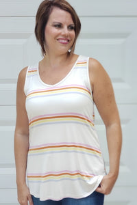 Striped Jersey V-Neck Sleeveless Top in Ivory