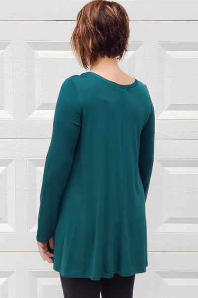 Long Sleeve Basic Flare Tunic in Hunter Green