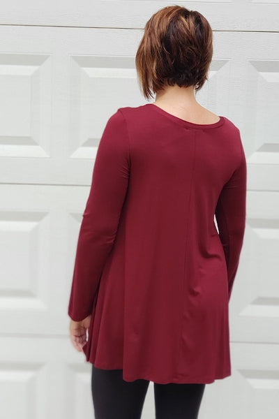 Long Sleeve Basic Flare Tunic in Dark Wine