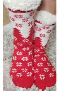 Snowflake Sherpa Christmas Slipper Socks in Red