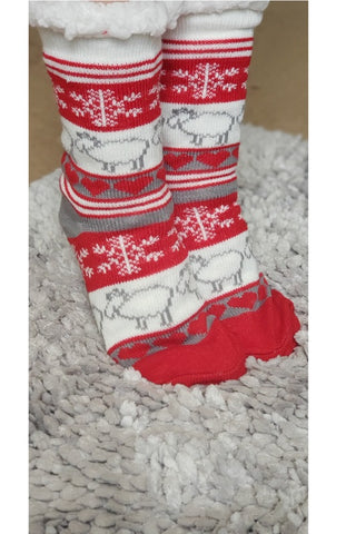 Reindeer Sherpa Christmas Slipper Socks in Red