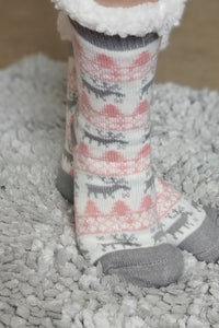 Reindeer Sherpa Christmas Slipper Socks in Pink and Gray