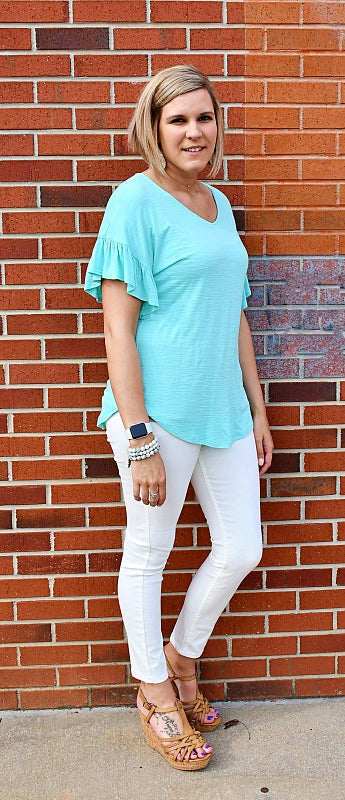 Ruffle V-Neck Top in Mint Green