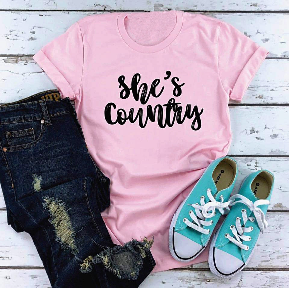 She's Country Graphic Tee in Pink
