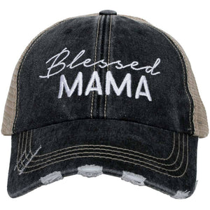 Katydid Blessed Mama Trucker Hat in Black