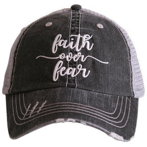 Katydid Faith Over Fear Trucker Hat in Gray