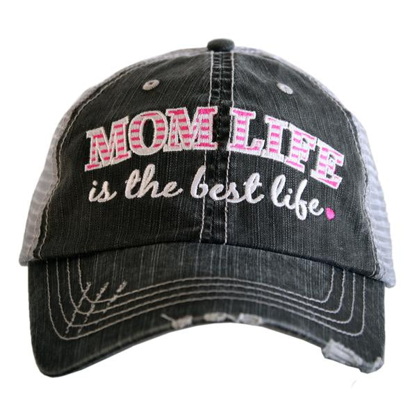 Katydid Mom Life Is The Best Life Trucker Hat in Hot Pink
