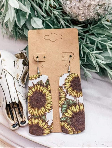Sunflower Print Faux Leather Wide Bar Earrings