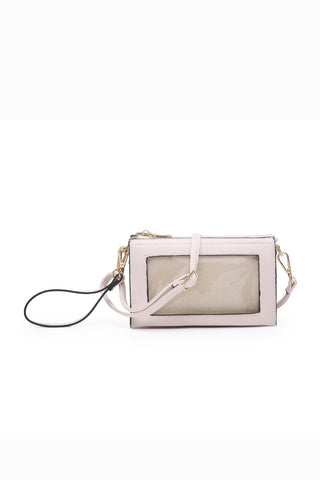 Three Compartment Phone Holder Crossbody in Nude
