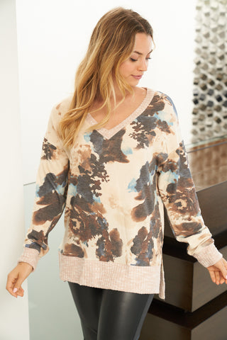 Tie Dye V-Neck Knit Top in Brown & Blue