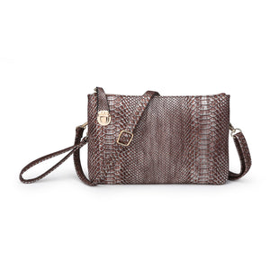 Snakeskin Clutch Crossbody in Metallic Pink