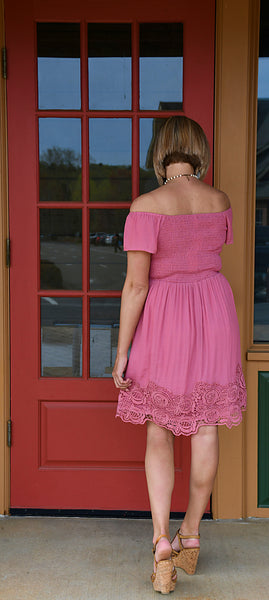 Smock Off the Shoulder Dress in Pink