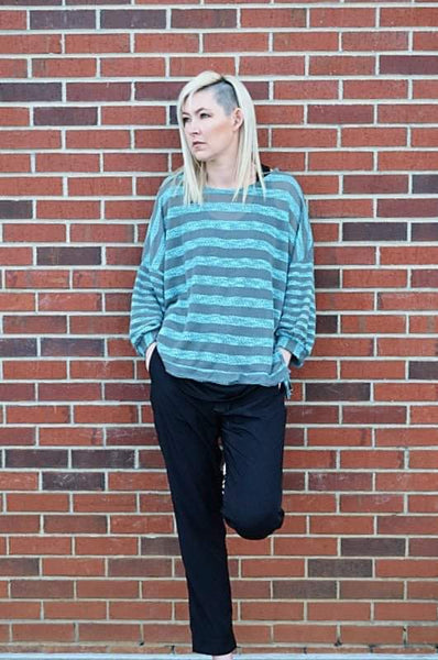 Striped Knit Top in Teal