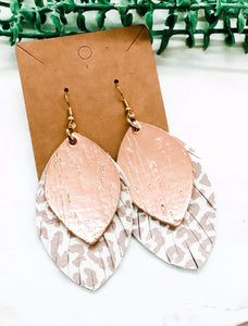 Dani Style Double Stack Genuine Leather Fringe Feather Earrings