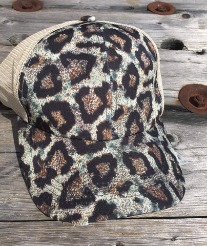 Distressed Criss Cross High Ponytail Ball Cap in Animal Print