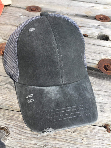 Distressed Criss Cross High Ponytail Ball Cap in Charcoal