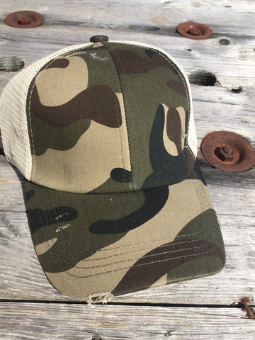 Distressed Camo Criss Cross High Ponytail Ball Cap in Olive