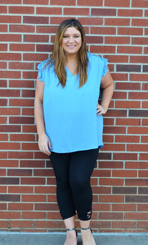 Ruffle Sleeveless Top in Blue
