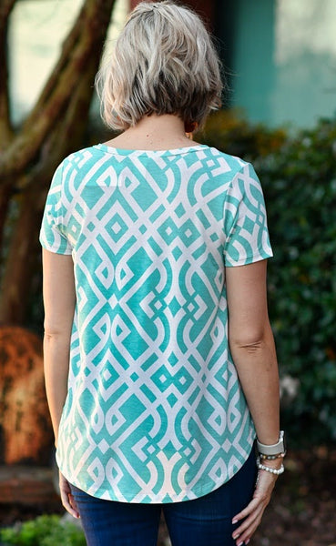 V-Neck Short Sleeve Top in Mint