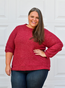 Macaroon High Low Tunic Top in Burgundy