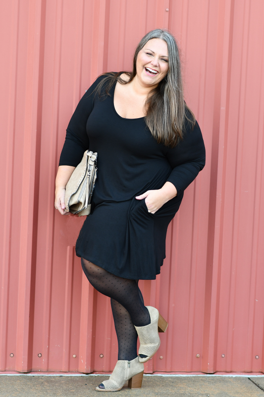 Quarter V-Neck Tunic Dress in Black