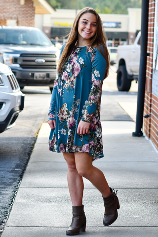 Floral Long Sleeve Dress in Teal