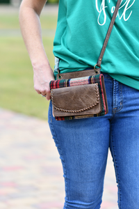 "Crossbody/Wallet with Whipstitch Detail in Coffee & Plaid ""RFID PROTECTED"""