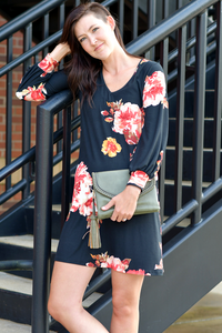 Floral V-Neck Swing Dress in Black
