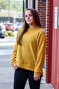 Macaroon High Low Tunic Top in Mustard