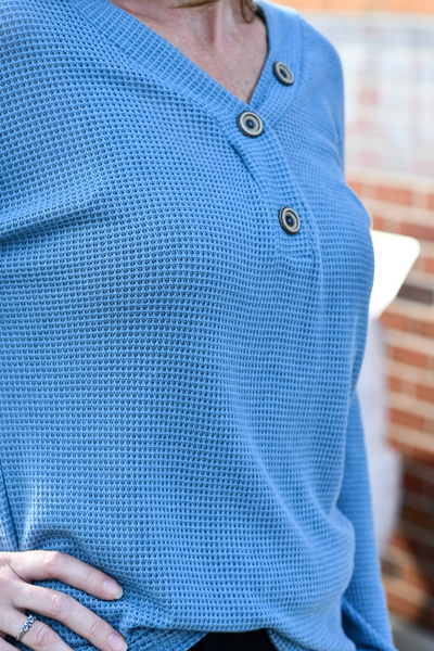 Button Trimmed Waffle Top in Slate Blue