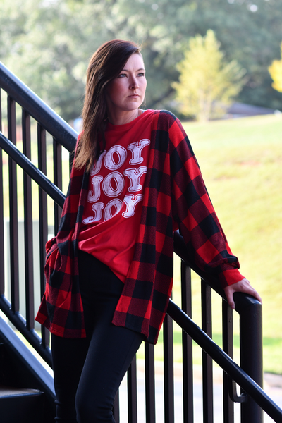 Buffalo Plaid Open Front Cardigan in Red & Black