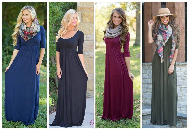 Sarah 4 Color Long Sleeve Maxi