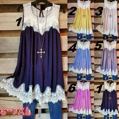 6 Color Lace Tunic S-5x
