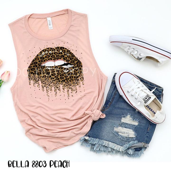Leopard print lips tank top or t-shirt
