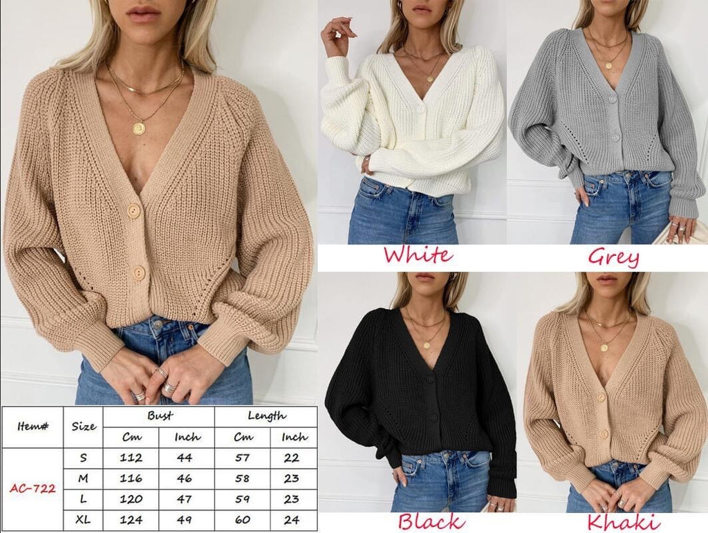 Jessica v neck button sweater