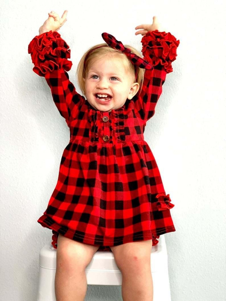 Little girls plaid red dress