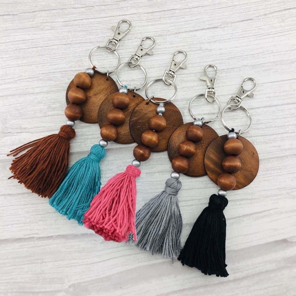Wooden disc tassel key chain