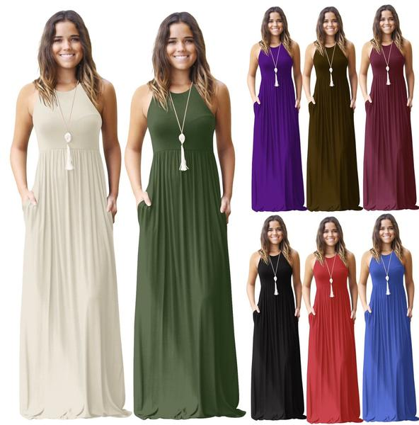 Solid Sleeveless Maxi Dress Round 5 Racerback