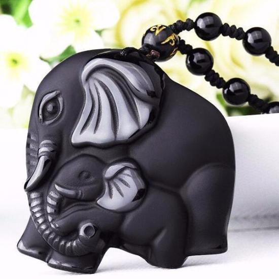Natural Black Obsidian Carving Elephant Necklace-Bubble vs Gum