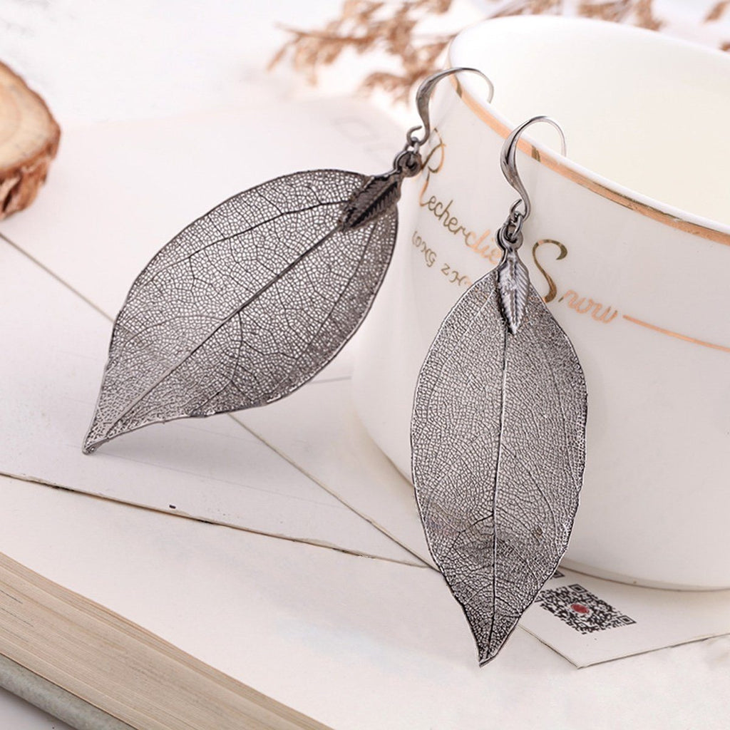 Bohemian Natural Real Leaf Earrings - Bubble vs. Gum