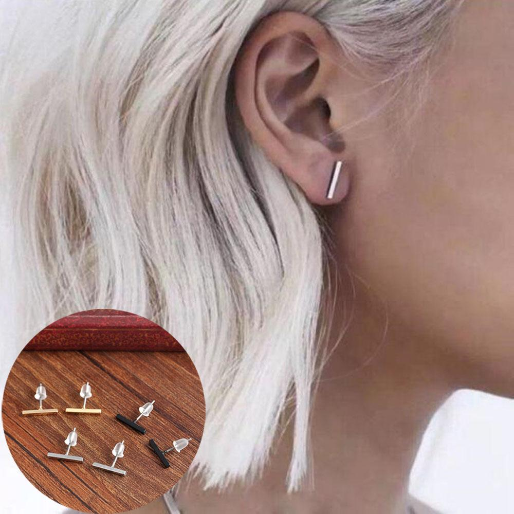 Buy 1 Get 1 - Minimalist Style T-Bar Stud Earrings - Bubble vs. Gum