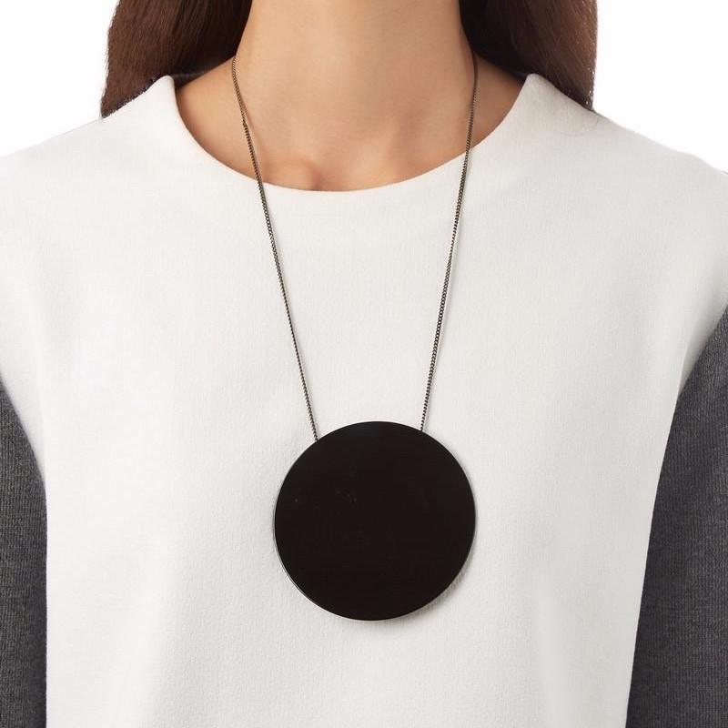 Oversized Circle Pendant Necklace (Black & White)-Bubble vs Gum