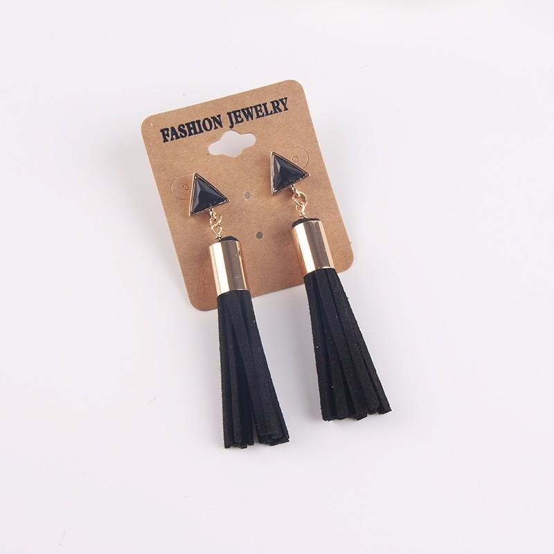 Simple Triangle Mini Tassel Drop Earrings-Bubble vs Gum