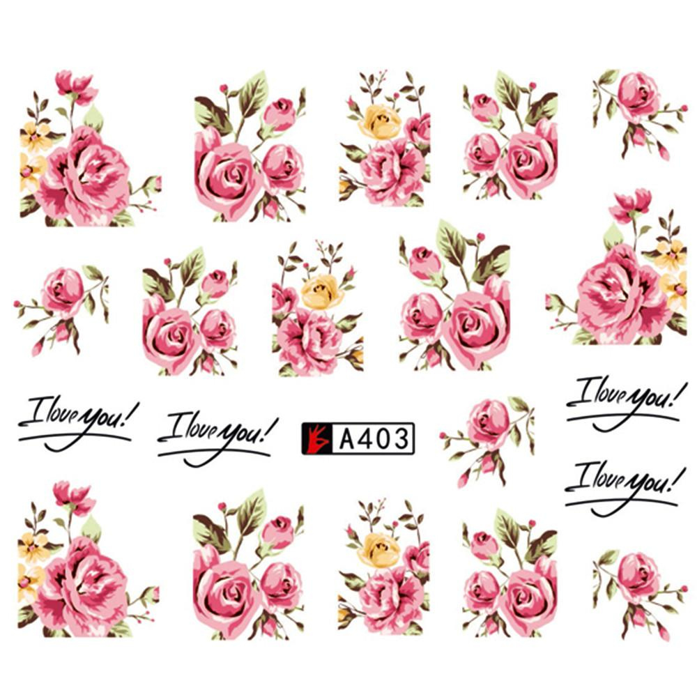 1 Set (5 Sheets) of Fresh Rose Water Nail Art Stickers - Bubble vs. Gum