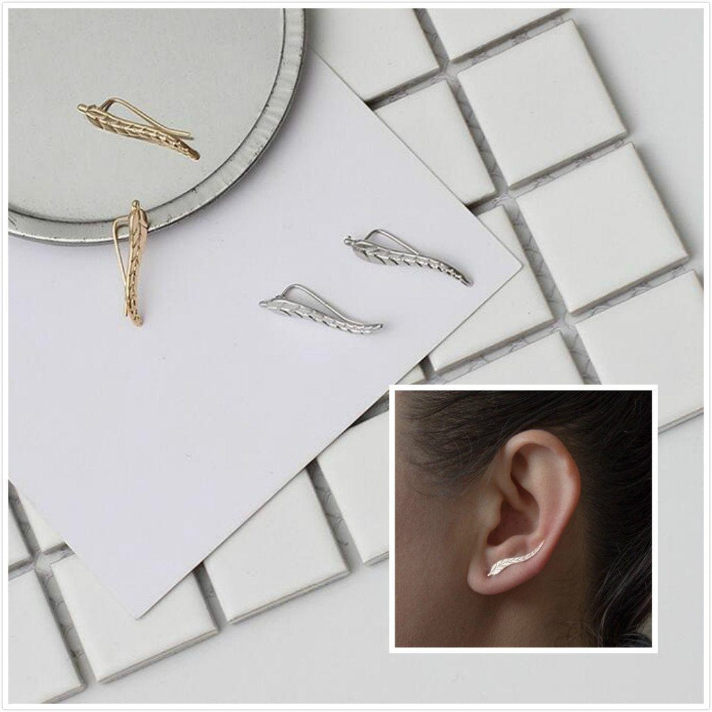 Buy 1 Get 1 - Modern Gold & Silver Leaf Earrings - Bubble vs. Gum